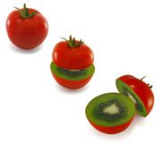 Ripe red tomatoes inside a kiwi. Isolated stock photography
