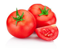 Ripe red tomatoes isolated on white background Stock Images