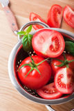 Ripe red tomatoes. Photo of fresh red tomatoes Royalty Free Stock Images