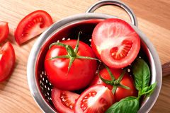 Ripe red tomatoes. Photo of fresh red tomatoes Royalty Free Stock Photography