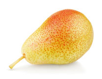 Ripe red yellow pear fruit on white Stock Photo