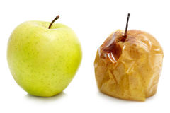 Ripe and rotten apple Stock Photo