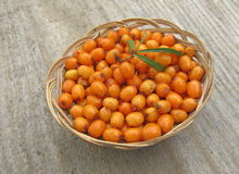 Ripe sea buckthorn in basket on wooden background Royalty Free Stock Photography