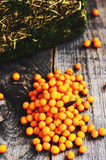 Ripe sea-buckthorn on wooden table Royalty Free Stock Images