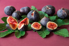 Ripe selected fig fruits on the berry color background. Royalty Free Stock Photography