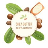 Ripe shea nuts and leaf Round Circle badge. shi tree pods whole and cracked. Vitellaria paradoxa. Card template copy space. for cooking, cosmetics royalty free illustration