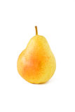 Ripe single yellow pear. On white background Stock Images