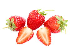 Ripe and slice strawberry isolated on white background. Stock Photos