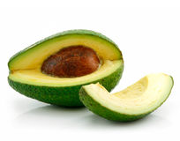 Ripe Sliced Avocado Isolated on White Stock Image