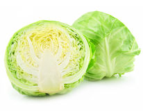 Ripe Sliced Cabbage Isolated on White Stock Photo