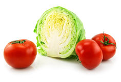 Ripe Sliced Cabbage and Tomatoes Isolated on White Stock Image