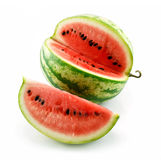 Ripe Sliced Green Watermelon Isolated on White Stock Image