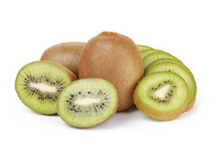 Ripe sliced kiwi fruit isolated on white Stock Photography
