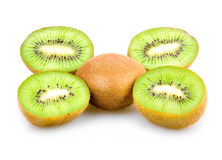 Ripe Sliced Kiwi Fruits Isolated Stock Images