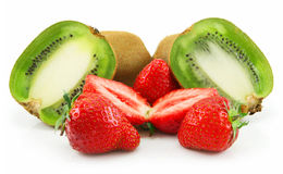 Ripe Sliced Kiwi and Strawberries Isolated Royalty Free Stock Photography