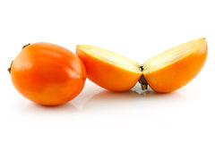 Ripe Sliced Persimmon Fruit Isolated Stock Image