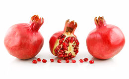 Ripe Sliced Pomegranate Fruit with Seeds Isolated Stock Photo