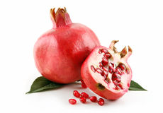 Ripe Sliced Pomegranate Fruit with Seeds Isolated Royalty Free Stock Image