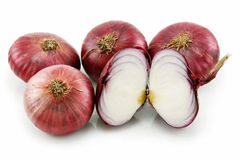 Ripe Sliced Red Onion Isolated on White Royalty Free Stock Photos