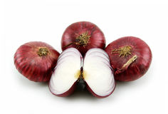 Ripe Sliced Red Onion Isolated on White Stock Image