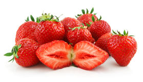 Ripe Sliced Strawberries Isolated on White Stock Photography