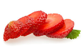 Ripe sliced strawberry Stock Photos
