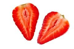 Ripe sliced strawberry fruit on  white background. isolated Stock Photo
