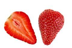 Ripe sliced strawberry fruit on  white background. isolated Stock Image