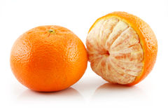 Ripe Sliced Tangerine Fruit Isolated on White Royalty Free Stock Images