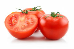 Ripe Sliced Tomatoes Isolated on White Stock Images