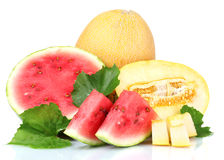 Ripe sliced watermelon and melon. Over the white Royalty Free Stock Photos