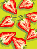 Ripe strawberries. Illustration of ripe halved strawberries on green background Stock Photos