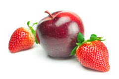 Ripe strawberries and apple Stock Photo