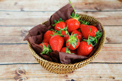 Ripe strawberries in a basket Royalty Free Stock Photo