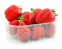 Ripe Strawberries in Basket Isolated on White Stock Photo