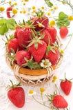 Ripe strawberries in the basket Stock Photo
