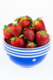 Ripe strawberries in a blue and white bowl isolated on a white b Stock Image