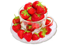 Ripe strawberries. In a glass bowl Stock Images