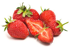 Ripe strawberries with leaves Royalty Free Stock Photo