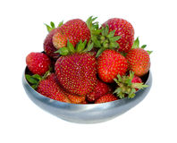 Ripe strawberries in metal dish isolated on white Royalty Free Stock Photo