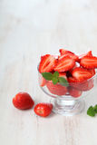 Ripe strawberries and mint Stock Photo