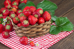 Ripe Strawberries in old Basket Stock Photos