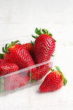 Ripe strawberries in plastic packing Royalty Free Stock Images