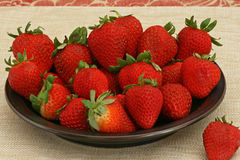Ripe Strawberries on a Plate Stock Photo