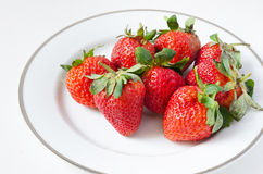 Ripe strawberries in a plate Royalty Free Stock Images