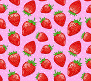 Ripe Strawberries Seamless Pattern Royalty Free Stock Photography