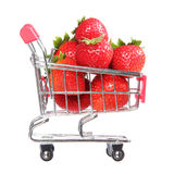 Ripe strawberries in shopping cart isolated. concept. Royalty Free Stock Photo