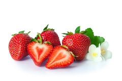 Ripe strawberries on white background Stock Photo