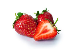 Ripe strawberries on white background Royalty Free Stock Image