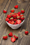 Ripe strawberries in a white bowl Royalty Free Stock Photography